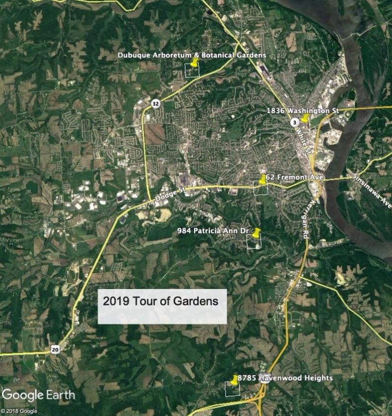 2019 Tour of Gardens Map